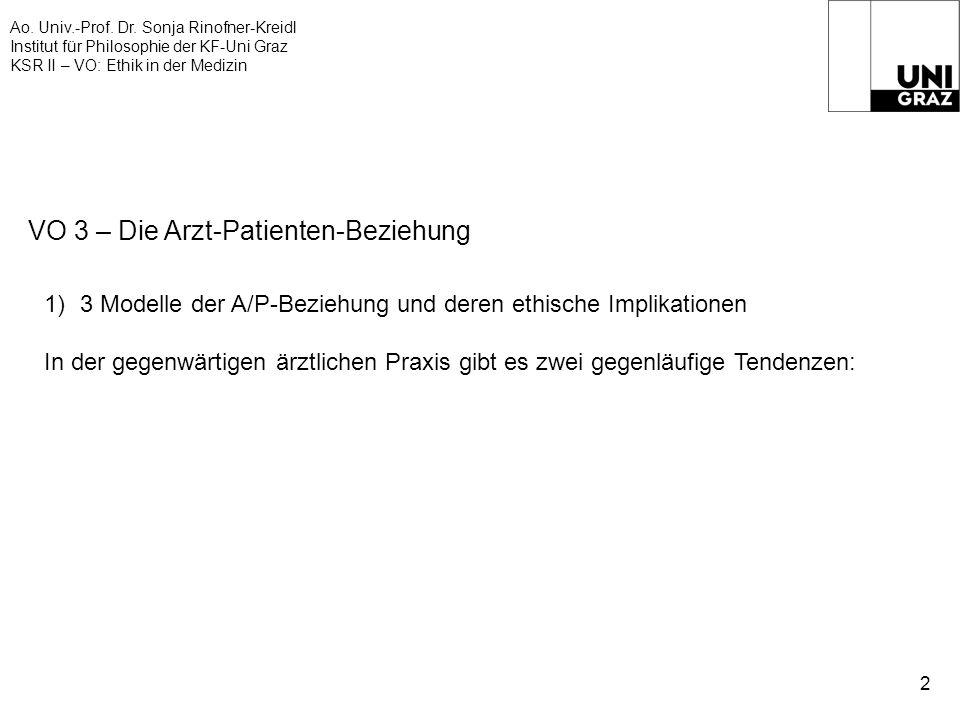 Ao. Univ.-Prof. Dr. Sonja Rinofner-Kreidl Institut für Philosophie der KF-Uni Graz KSR II – VO: Ethik in der Medizin 2 VO 3 – Die Arzt-Patienten-Bezie