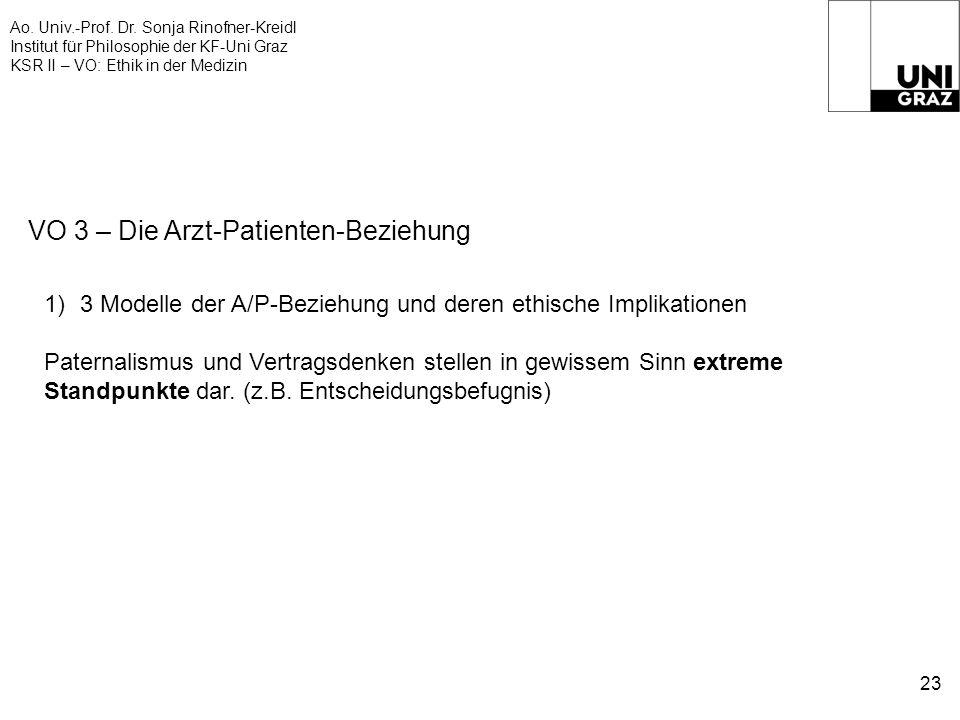 Ao. Univ.-Prof. Dr. Sonja Rinofner-Kreidl Institut für Philosophie der KF-Uni Graz KSR II – VO: Ethik in der Medizin 23 VO 3 – Die Arzt-Patienten-Bezi