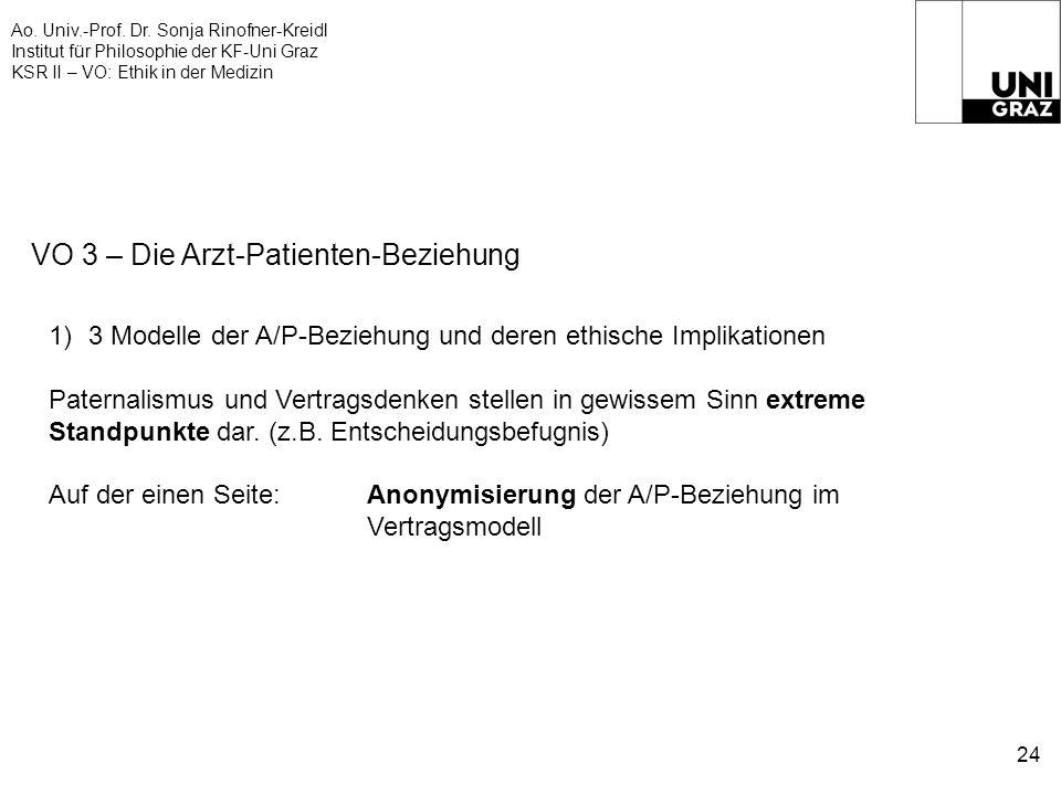 Ao. Univ.-Prof. Dr. Sonja Rinofner-Kreidl Institut für Philosophie der KF-Uni Graz KSR II – VO: Ethik in der Medizin 24 VO 3 – Die Arzt-Patienten-Bezi