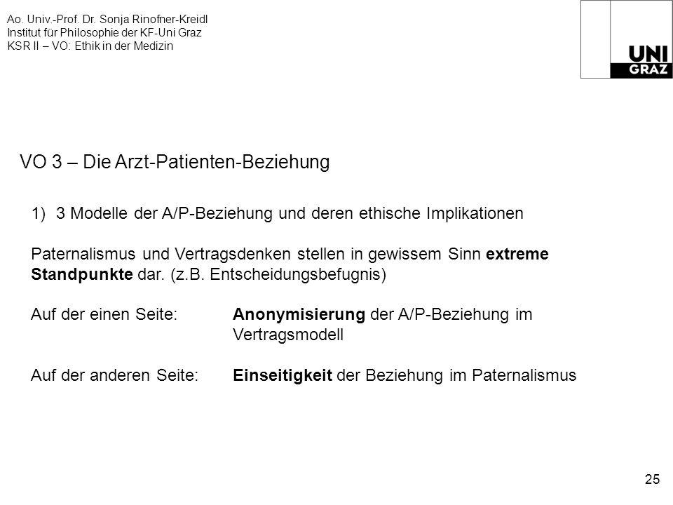 Ao. Univ.-Prof. Dr. Sonja Rinofner-Kreidl Institut für Philosophie der KF-Uni Graz KSR II – VO: Ethik in der Medizin 25 VO 3 – Die Arzt-Patienten-Bezi