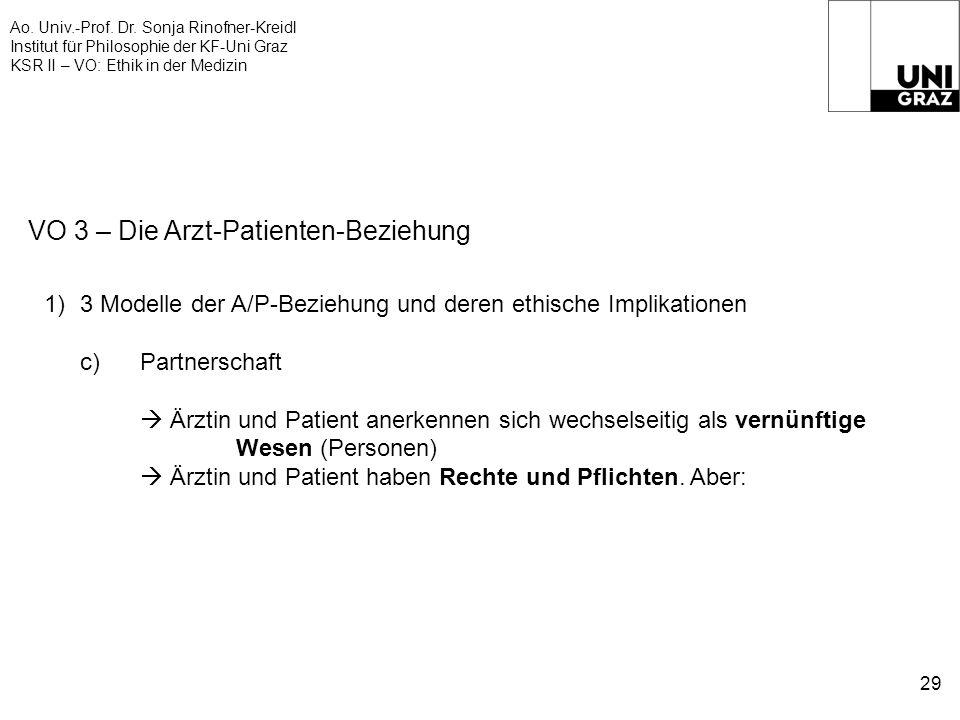 Ao. Univ.-Prof. Dr. Sonja Rinofner-Kreidl Institut für Philosophie der KF-Uni Graz KSR II – VO: Ethik in der Medizin 29 VO 3 – Die Arzt-Patienten-Bezi