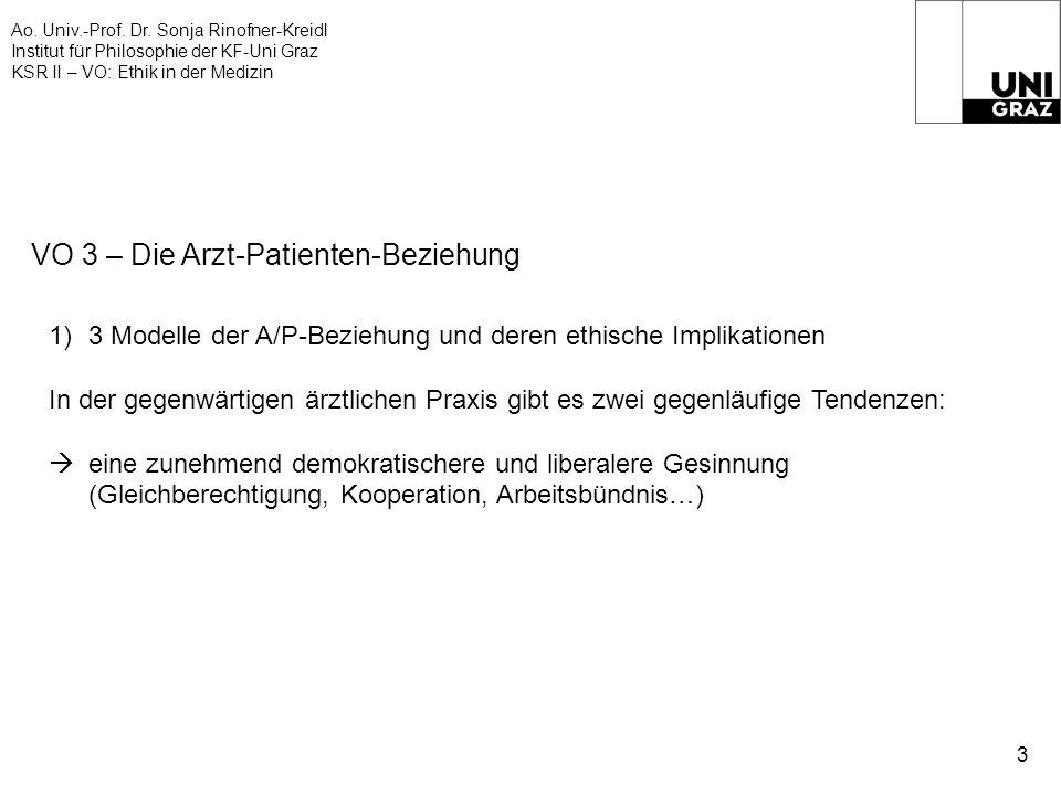 Ao. Univ.-Prof. Dr. Sonja Rinofner-Kreidl Institut für Philosophie der KF-Uni Graz KSR II – VO: Ethik in der Medizin 3 VO 3 – Die Arzt-Patienten-Bezie