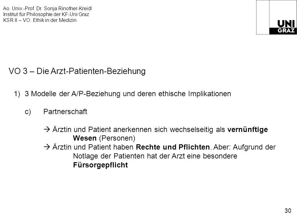 Ao. Univ.-Prof. Dr. Sonja Rinofner-Kreidl Institut für Philosophie der KF-Uni Graz KSR II – VO: Ethik in der Medizin 30 VO 3 – Die Arzt-Patienten-Bezi