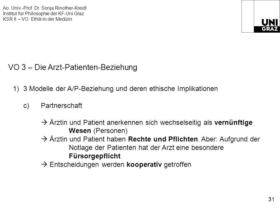 Ao. Univ.-Prof. Dr. Sonja Rinofner-Kreidl Institut für Philosophie der KF-Uni Graz KSR II – VO: Ethik in der Medizin 31 VO 3 – Die Arzt-Patienten-Bezi