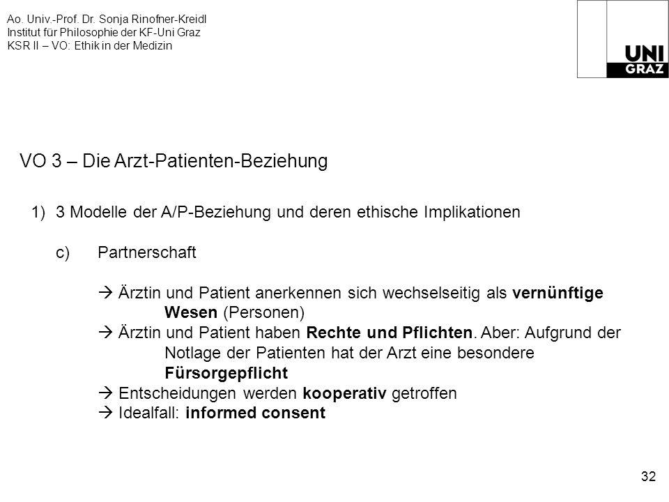 Ao. Univ.-Prof. Dr. Sonja Rinofner-Kreidl Institut für Philosophie der KF-Uni Graz KSR II – VO: Ethik in der Medizin 32 VO 3 – Die Arzt-Patienten-Bezi