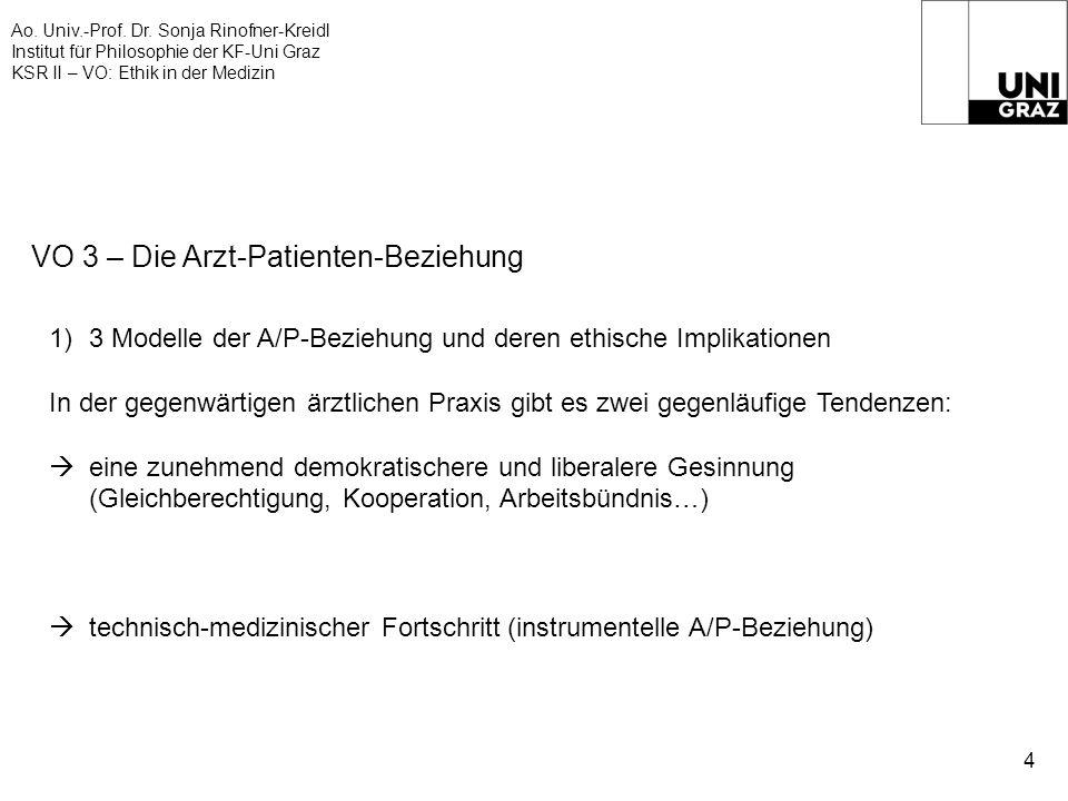 Ao. Univ.-Prof. Dr. Sonja Rinofner-Kreidl Institut für Philosophie der KF-Uni Graz KSR II – VO: Ethik in der Medizin 4 VO 3 – Die Arzt-Patienten-Bezie