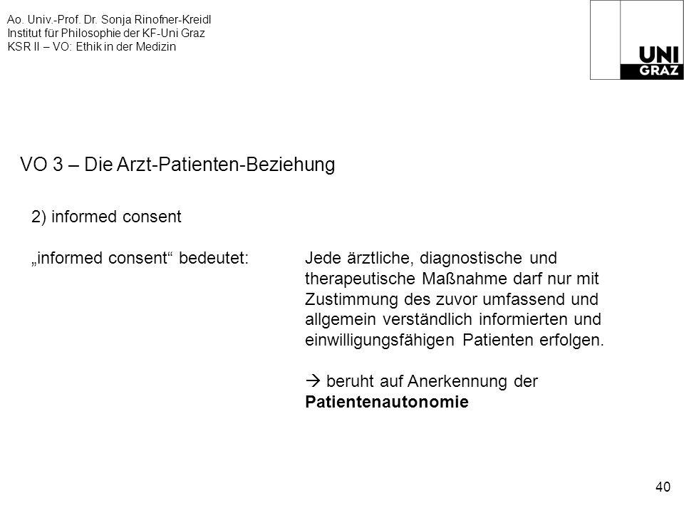 Ao. Univ.-Prof. Dr. Sonja Rinofner-Kreidl Institut für Philosophie der KF-Uni Graz KSR II – VO: Ethik in der Medizin 40 VO 3 – Die Arzt-Patienten-Bezi