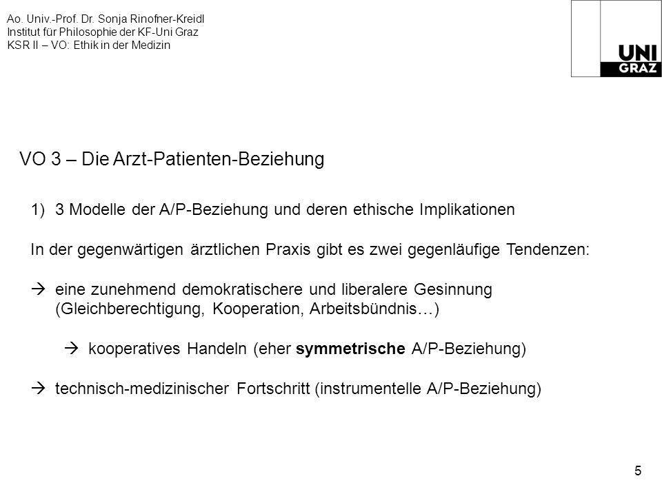 Ao. Univ.-Prof. Dr. Sonja Rinofner-Kreidl Institut für Philosophie der KF-Uni Graz KSR II – VO: Ethik in der Medizin 5 VO 3 – Die Arzt-Patienten-Bezie