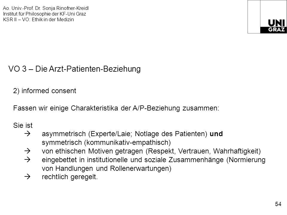 Ao. Univ.-Prof. Dr. Sonja Rinofner-Kreidl Institut für Philosophie der KF-Uni Graz KSR II – VO: Ethik in der Medizin 54 VO 3 – Die Arzt-Patienten-Bezi