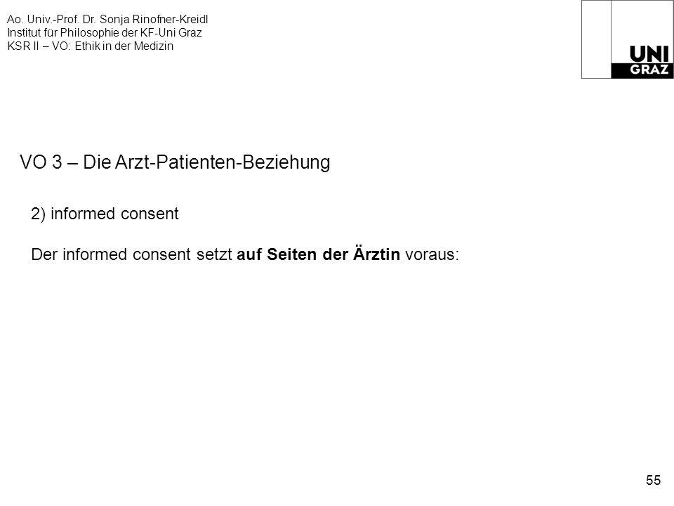 Ao. Univ.-Prof. Dr. Sonja Rinofner-Kreidl Institut für Philosophie der KF-Uni Graz KSR II – VO: Ethik in der Medizin 55 VO 3 – Die Arzt-Patienten-Bezi