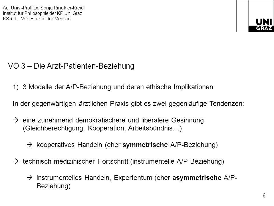 Ao. Univ.-Prof. Dr. Sonja Rinofner-Kreidl Institut für Philosophie der KF-Uni Graz KSR II – VO: Ethik in der Medizin 6 VO 3 – Die Arzt-Patienten-Bezie
