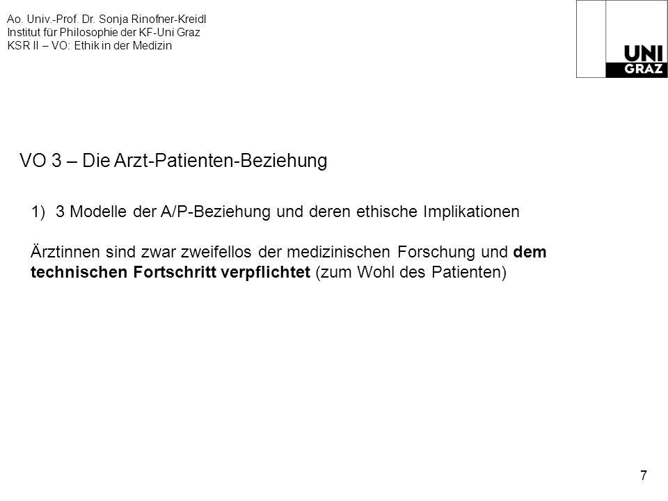 Ao. Univ.-Prof. Dr. Sonja Rinofner-Kreidl Institut für Philosophie der KF-Uni Graz KSR II – VO: Ethik in der Medizin 7 VO 3 – Die Arzt-Patienten-Bezie