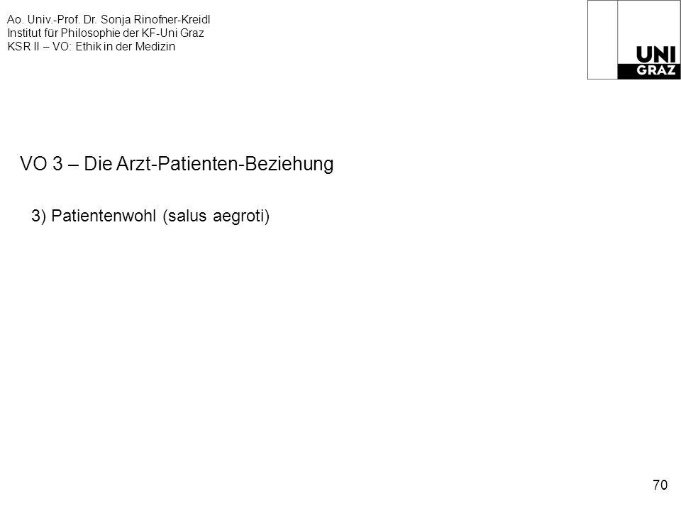 Ao. Univ.-Prof. Dr. Sonja Rinofner-Kreidl Institut für Philosophie der KF-Uni Graz KSR II – VO: Ethik in der Medizin 70 VO 3 – Die Arzt-Patienten-Bezi