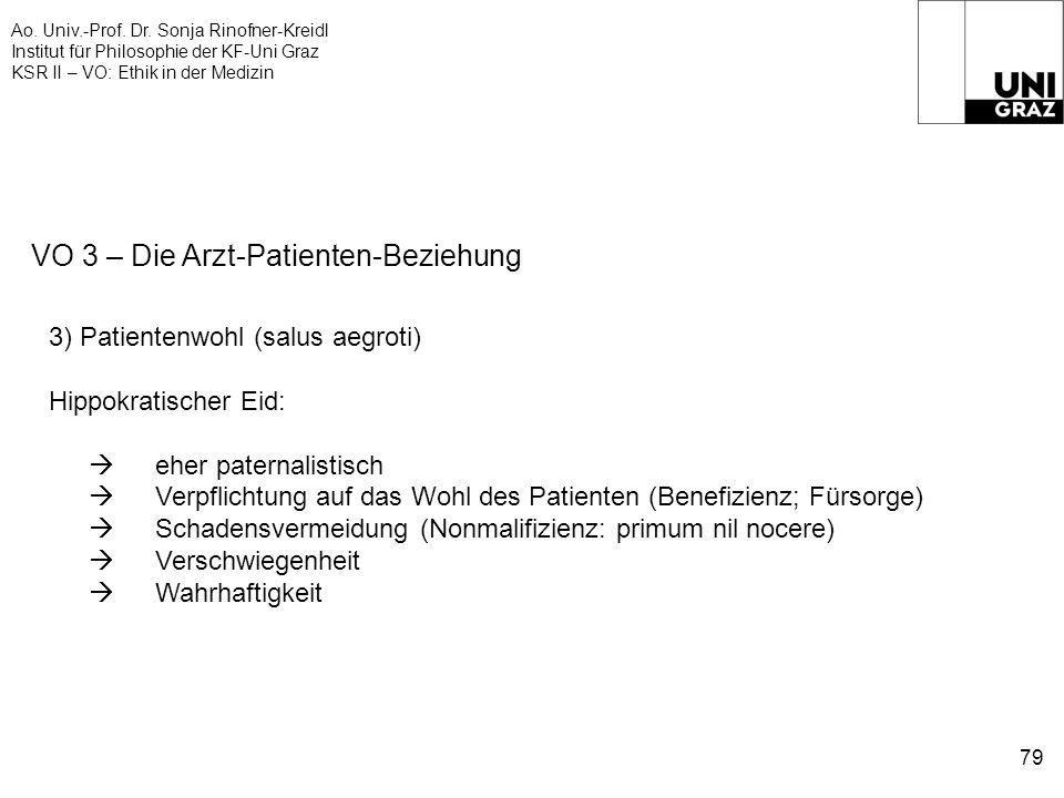 Ao. Univ.-Prof. Dr. Sonja Rinofner-Kreidl Institut für Philosophie der KF-Uni Graz KSR II – VO: Ethik in der Medizin 79 VO 3 – Die Arzt-Patienten-Bezi