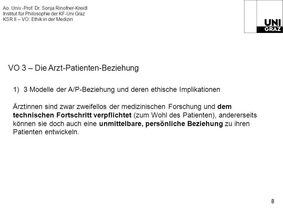 Ao. Univ.-Prof. Dr. Sonja Rinofner-Kreidl Institut für Philosophie der KF-Uni Graz KSR II – VO: Ethik in der Medizin 8 VO 3 – Die Arzt-Patienten-Bezie