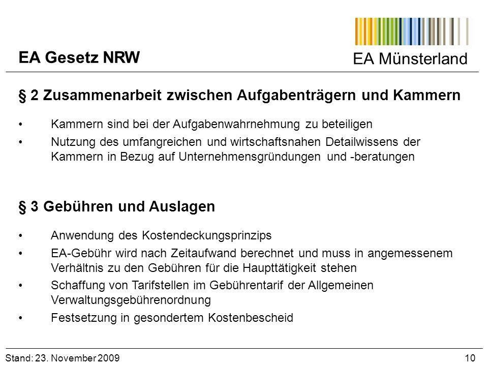 EA Münsterland Stand: 23. November 2009 10 § 2 Zusammenarbeit zwischen Aufgabenträgern und Kammern Kammern sind bei der Aufgabenwahrnehmung zu beteili