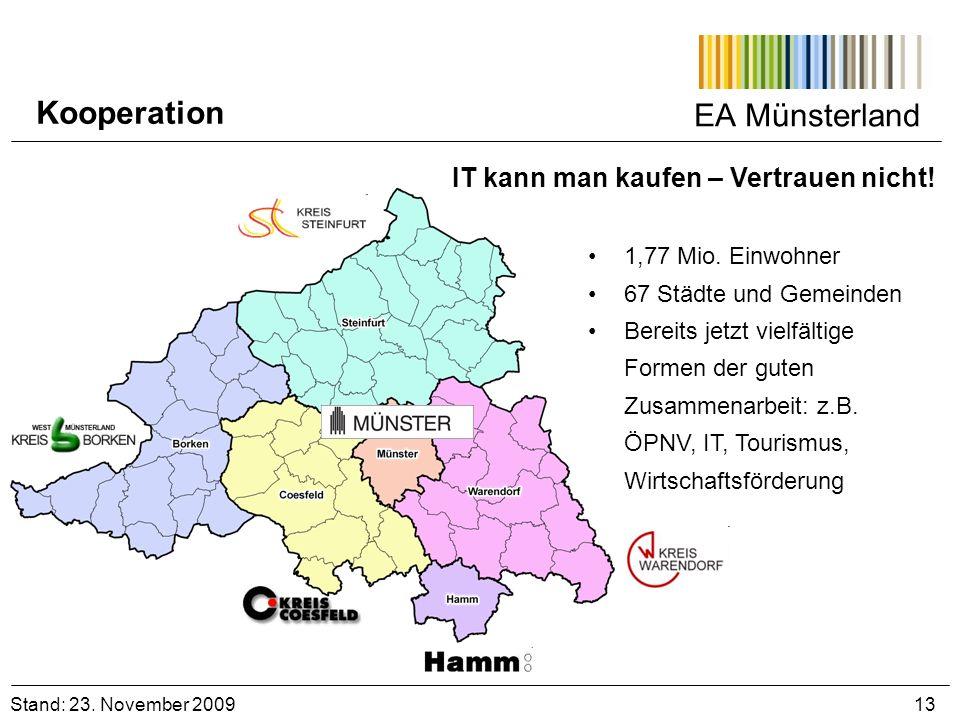 EA Münsterland Stand: 23. November 2009 13 Kooperation 1,77 Mio. Einwohner 67 Städte und Gemeinden Bereits jetzt vielfältige Formen der guten Zusammen