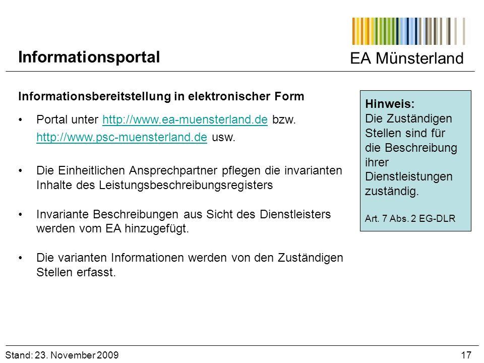 EA Münsterland Informationsbereitstellung in elektronischer Form Portal unter http://www.ea-muensterland.de bzw. http://www.psc-muensterland.de usw.ht