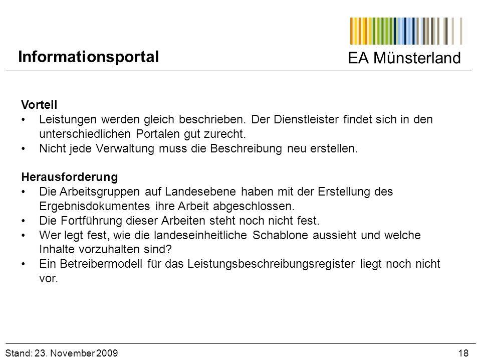 EA Münsterland Vorteil Leistungen werden gleich beschrieben. Der Dienstleister findet sich in den unterschiedlichen Portalen gut zurecht. Nicht jede V