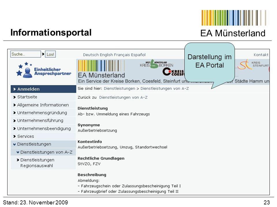 EA Münsterland Darstellung im EA Portal Stand: 23. November 2009 23 Informationsportal
