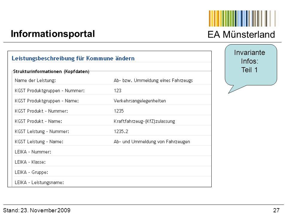 EA Münsterland Invariante Infos: Teil 1 Stand: 23. November 2009 27 Informationsportal