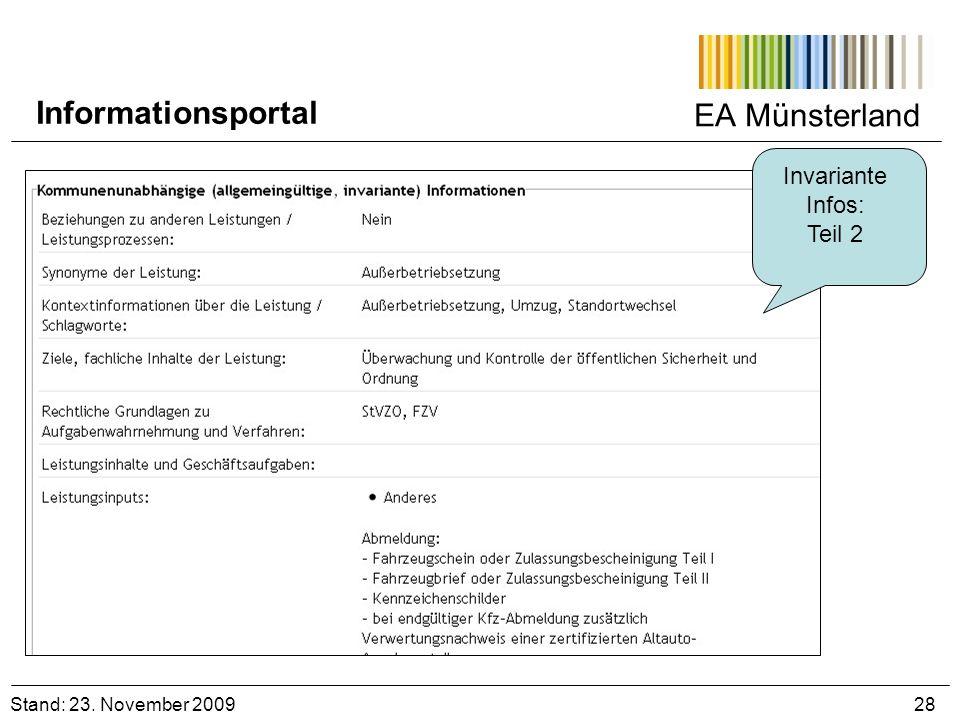EA Münsterland Invariante Infos: Teil 2 Stand: 23. November 2009 28 Informationsportal