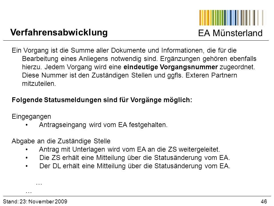 EA Münsterland Stand: 23. November 2009 46 Verfahrensabwicklung Ein Vorgang ist die Summe aller Dokumente und Informationen, die für die Bearbeitung e