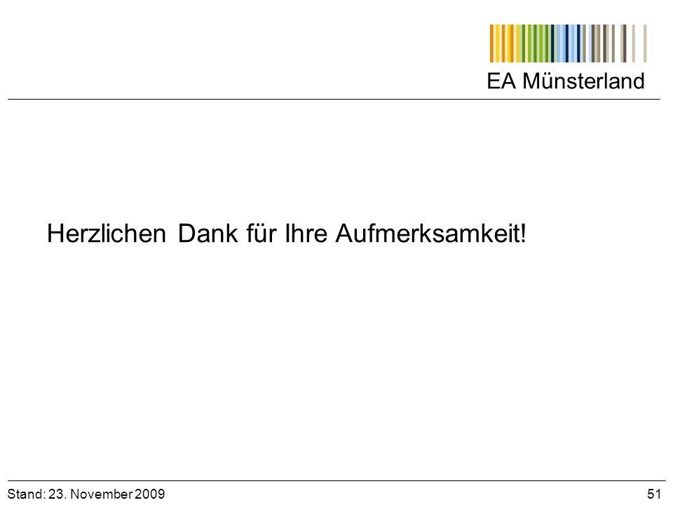 EA Münsterland Stand: 23. November 2009 51 Herzlichen Dank für Ihre Aufmerksamkeit!