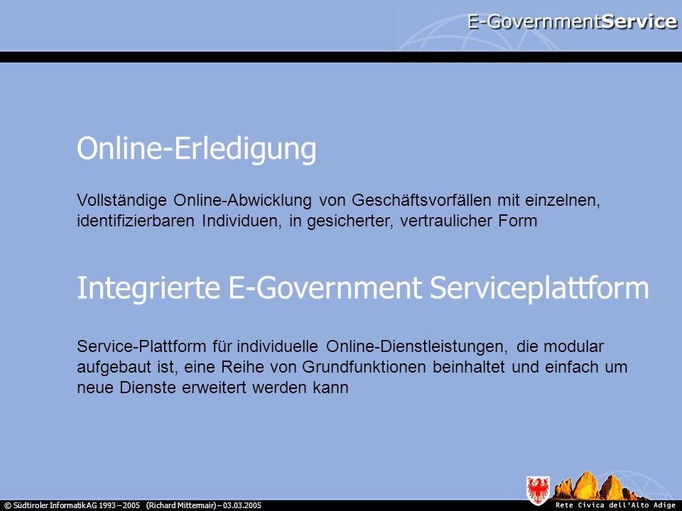 © Südtiroler Informatik AG 1993 – 2005 (Richard Mittermair) – 03.03.2005 Bürger Vermittler Bürger Verwaltung E-Government Ämterportal Username E-Gov-Account E-Government-Service AccountsData E-Government-Account Level 1