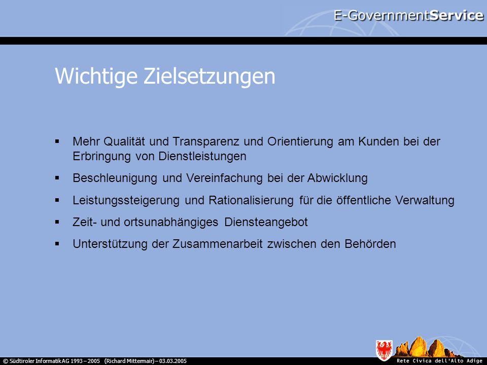 © Südtiroler Informatik AG 1993 – 2005 (Richard Mittermair) – 03.03.2005 Mehr Qualität und Transparenz und Orientierung am Kunden bei der Erbringung v