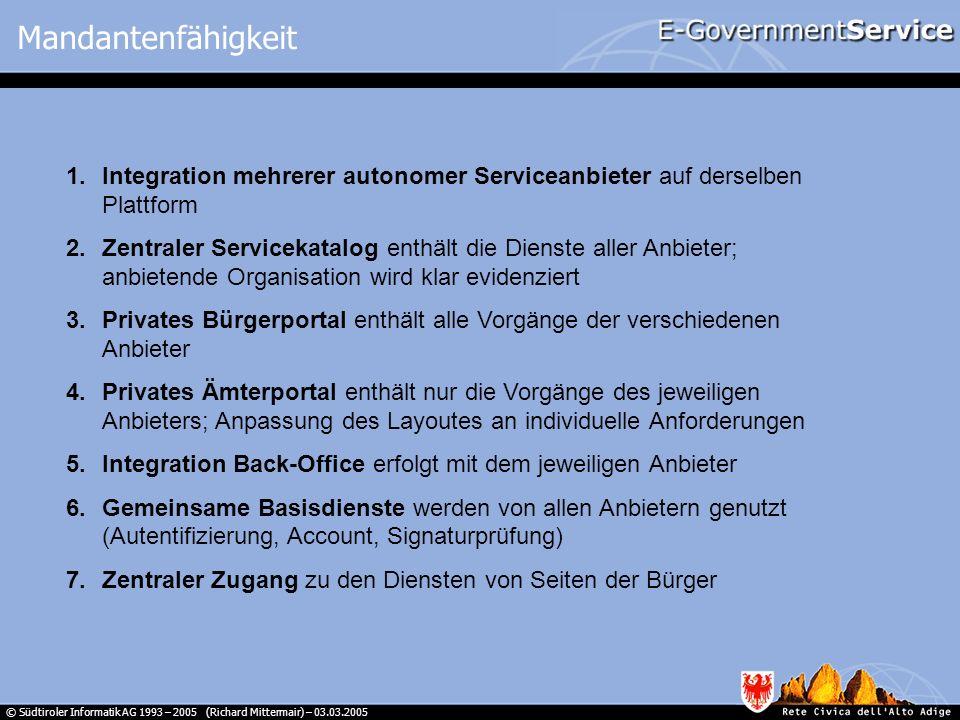 © Südtiroler Informatik AG 1993 – 2005 (Richard Mittermair) – 03.03.2005 1.Integration mehrerer autonomer Serviceanbieter auf derselben Plattform 2.Ze