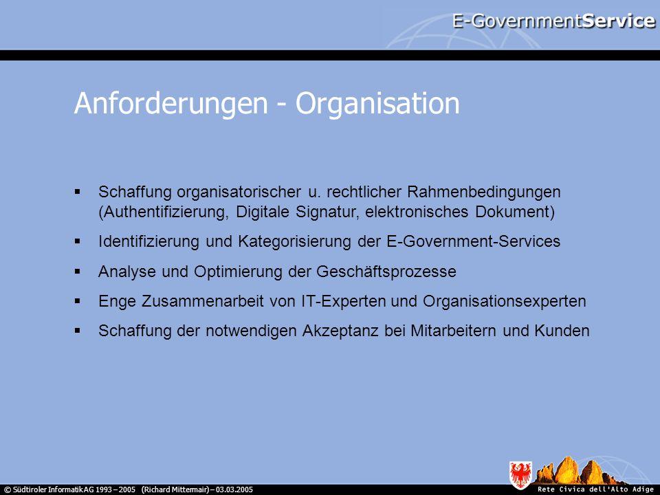© Südtiroler Informatik AG 1993 – 2005 (Richard Mittermair) – 03.03.2005 Schaffung organisatorischer u. rechtlicher Rahmenbedingungen (Authentifizieru