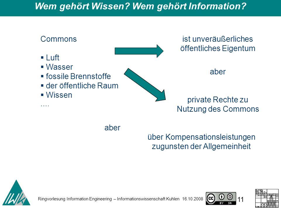 Ringvorlesung Information Engineering – Informationswissenschaft Kuhlen 16.10.2008 11 Wem gehört Wissen.