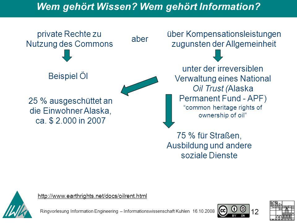 Ringvorlesung Information Engineering – Informationswissenschaft Kuhlen 16.10.2008 12 Wem gehört Wissen.