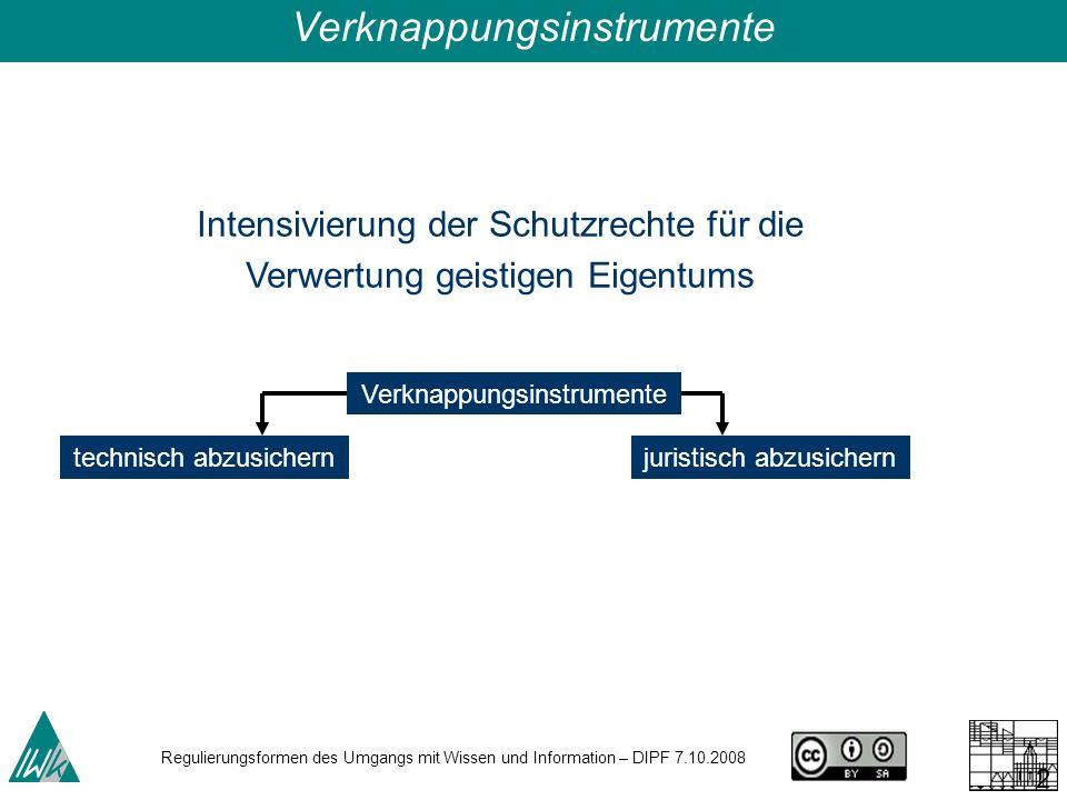 Regulierungsformen des Umgangs mit Wissen und Information – DIPF 7.10.2008 27 Intensivierung der Schutzrechte für die Verwertung geistigen Eigentums technisch abzusichernjuristisch abzusichern Verknappungsinstrumente