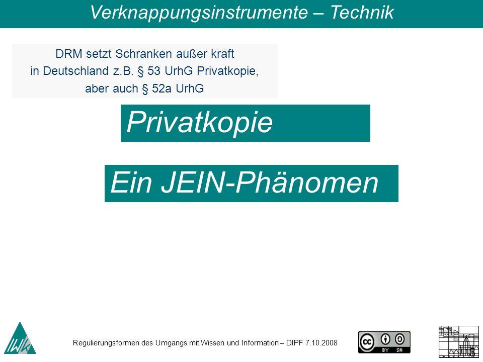 Regulierungsformen des Umgangs mit Wissen und Information – DIPF 7.10.2008 31 DRM setzt Schranken außer kraft in Deutschland z.B.