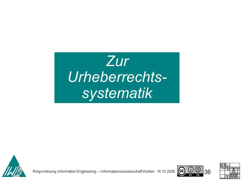 Ringvorlesung Information Engineering – Informationswissenschaft Kuhlen 16.10.2008 36 Zur Urheberrechts- systematik