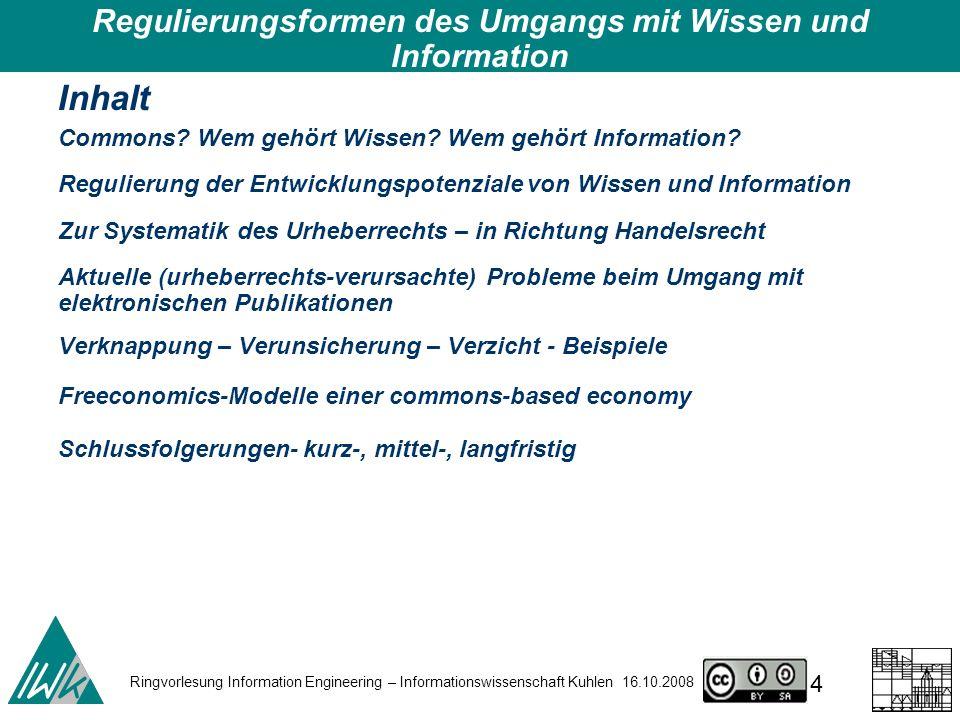 Regulierungsformen des Umgangs mit Wissen und Information – DIPF 7.10.2008 35 technisch abzusichern juristisch abzusichern auszuhandeln Verknappungsinstrumente – Urheberrecht