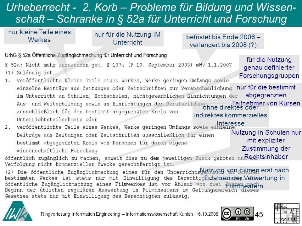 Ringvorlesung Information Engineering – Informationswissenschaft Kuhlen 16.10.2008 45 Urheberrecht - 2.
