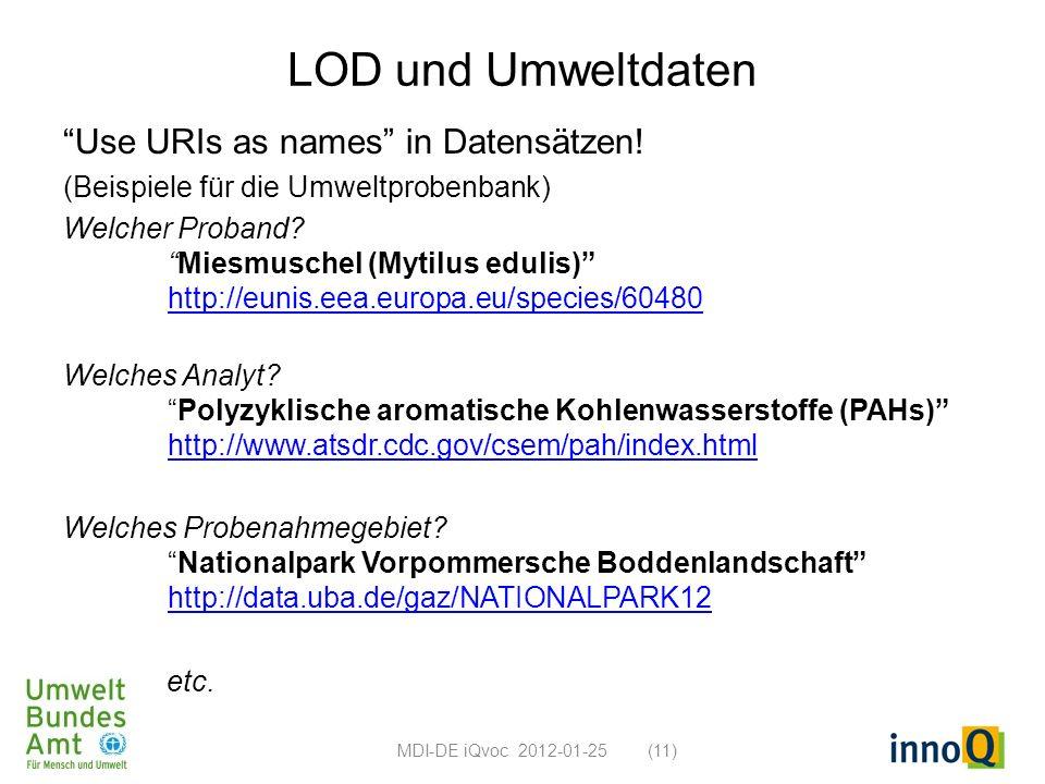 LOD und Umweltdaten Use URIs as names in Datensätzen! (Beispiele für die Umweltprobenbank) Welcher Proband?Miesmuschel (Mytilus edulis) http://eunis.e