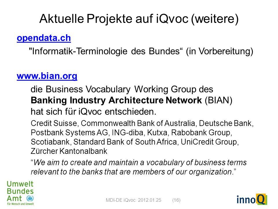 Aktuelle Projekte auf iQvoc (weitere) opendata.ch