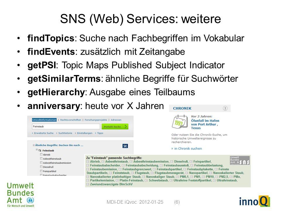 SNS (Web) Services: weitere findTopics: Suche nach Fachbegriffen im Vokabular findEvents: zusätzlich mit Zeitangabe getPSI: Topic Maps Published Subje