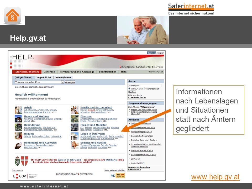 Informationen nach Lebenslagen und Situationen statt nach Ämtern gegliedert w w w. s a f e r i n t e r n e t. a t Help.gv.at www.help.gv.at