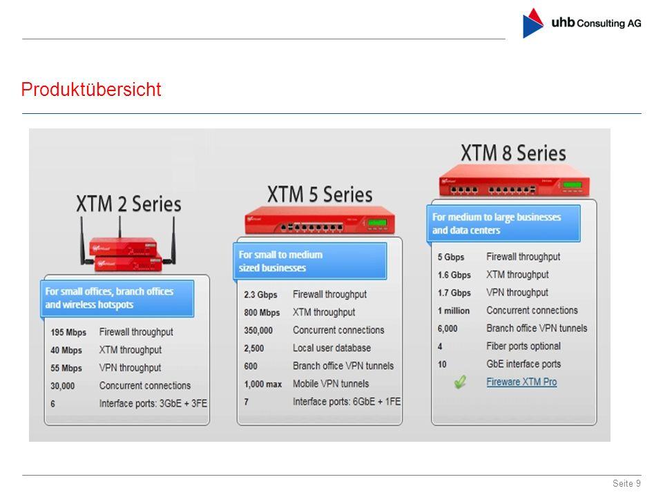 Produktübersicht Seite 10 Alle Systeme innerhalb einer Serie sind per Lizenz ohne Hardwareaustausch upgradebar Clusterfähig ab XTM 5 Serie – Active / Active oder Active / Passiv Client VPN : IPSEC, SSL, PPTP Authentifizierungsmethoden: Microsoft Active Directory Interne Datenbank Radius LDAP SecureID