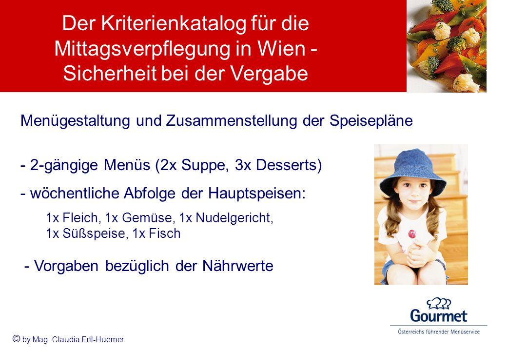 Menügestaltung und Zusammenstellung der Speisepläne -2-gängige Menüs (2x Suppe, 3x Desserts) -wöchentliche Abfolge der Hauptspeisen: 1x Fleich, 1x Gem