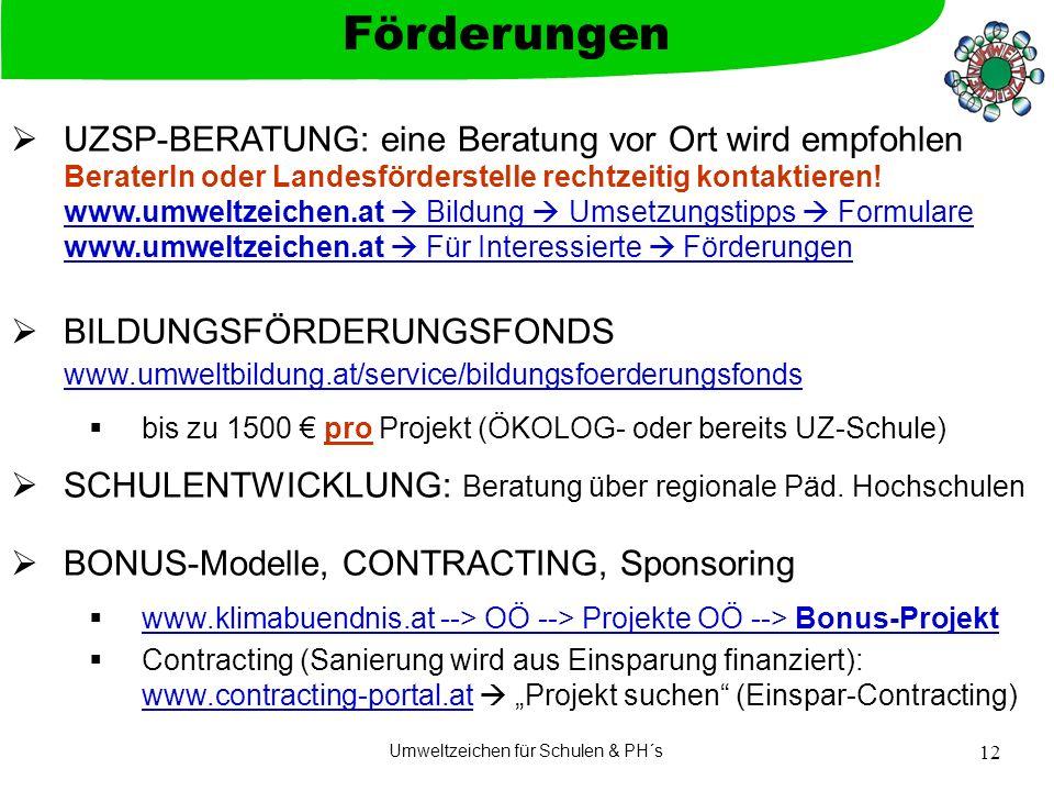 Umweltzeichen für Schulen & PH´s 12 UZSP-BERATUNG: eine Beratung vor Ort wird empfohlen BeraterIn oder Landesförderstelle rechtzeitig kontaktieren.
