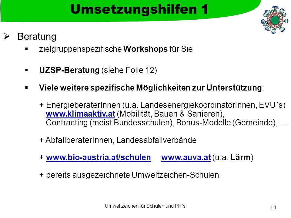 Umweltzeichen für Schulen und PH´s 14 Beratung zielgruppenspezifische Workshops für Sie UZSP-Beratung (siehe Folie 12) Viele weitere spezifische Möglichkeiten zur Unterstützung: + EnergieberaterInnen (u.a.