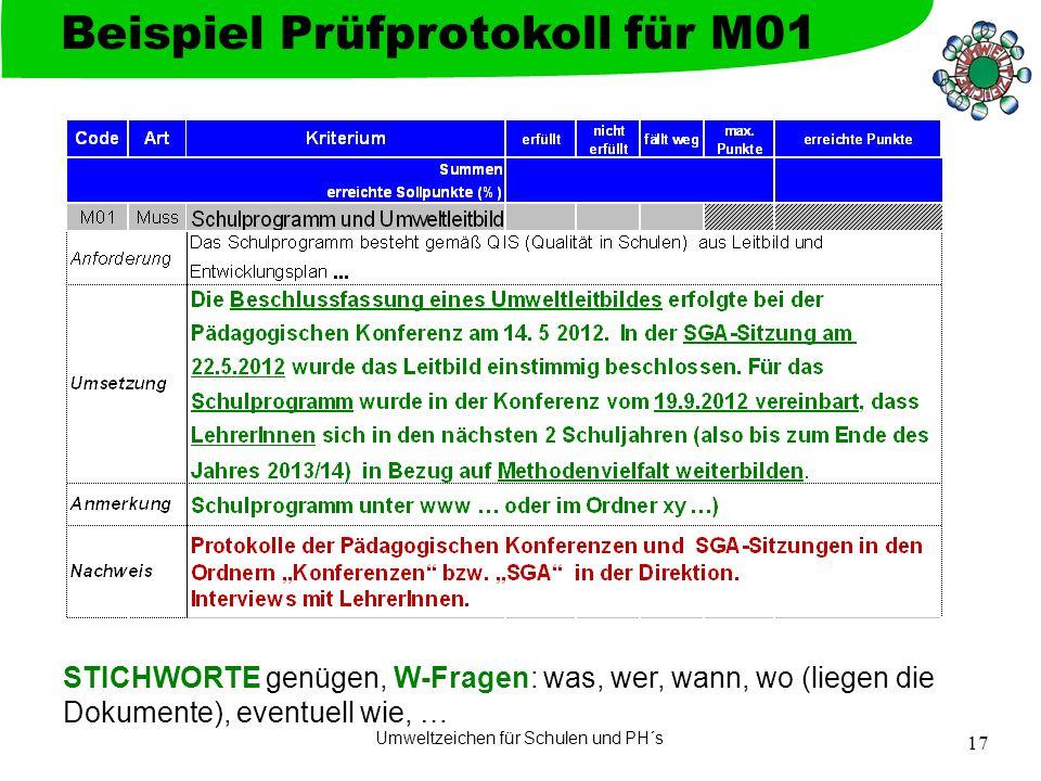 Umweltzeichen für Schulen und PH´s 17 Beispiel Prüfprotokoll für M01 STICHWORTE genügen, W-Fragen: was, wer, wann, wo (liegen die Dokumente), eventuell wie, …