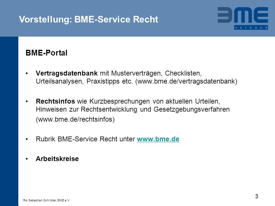 4 Vorteile von Allgemeinen Einkaufsbedingungen (AGB / AEB) AGB / AEB dienen der Standardisierung von Geschäften AGB / AEB bieten in der Regel verlässliche und stabile Vertragsverhältnisse Taktische Überlegungen Grenzen der AGB-Rechtsprechung Individuelle Lösungen bei strategischen und komplexen Kunden- und Lieferantenprojekten Passgenauigkeit (zuerst Spezifikation, dann Vertrag) BME-Service Recht RA Sebastian Schröder, BME e.V.