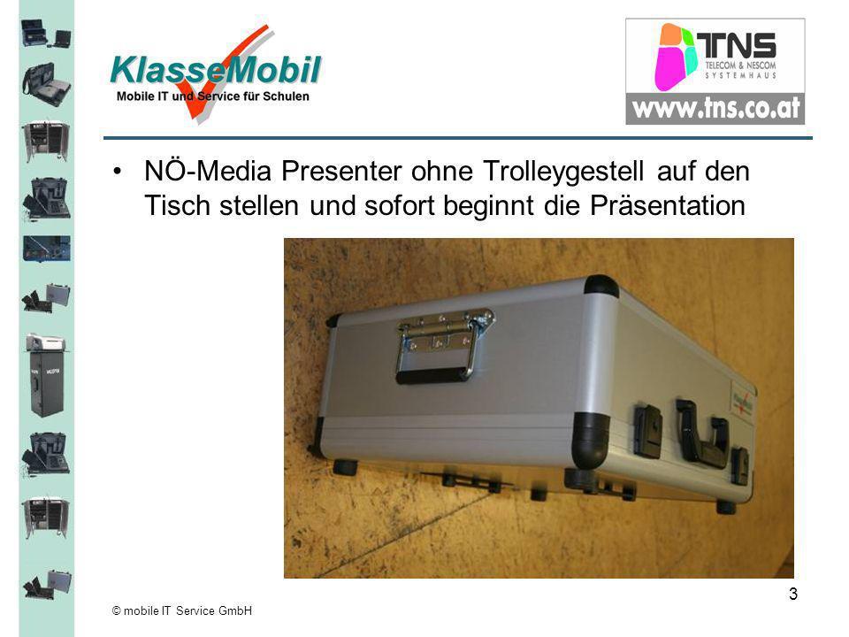 © mobile IT Service GmbH 3 NÖ-Media Presenter ohne Trolleygestell auf den Tisch stellen und sofort beginnt die Präsentation